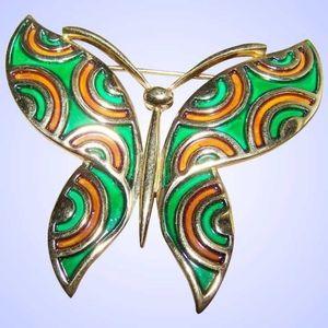 Large Designer Signed Trifari Enamel Butterfly Bro